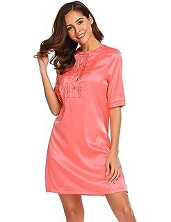 08bad2c199 Adome Women s Stain Nightdress O-Neck Short Sleeve Nightwear Soft Sleepwear  Dress