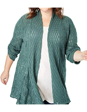 f81eaae3ee518 Woman Within Women s Plus Size Open Front Pointelle Cardigan