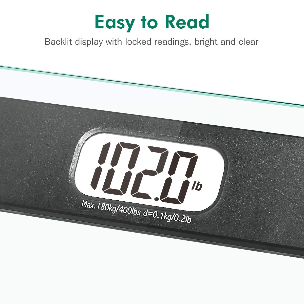 Beautural Precision Digital Body Weight Bathroom Scale with Lighted Display, Step-On Technology, 400 lb by Beautural (Image #5)
