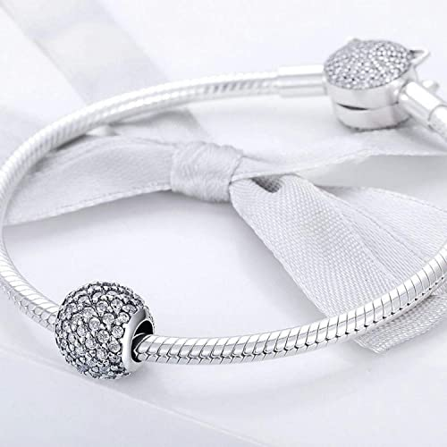 EverReena Trendy Dazzling Round Stone Safety Chain Charms Silver Beads Bracelets