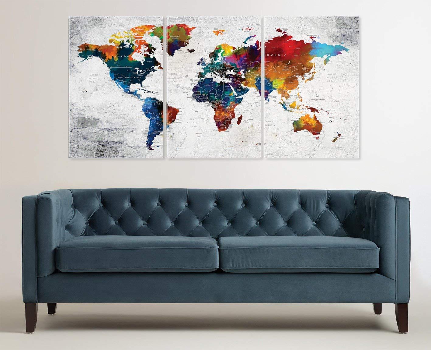 Kunstdrucke World Map Push Pin Travel Map Wall Art Canvas Print ...