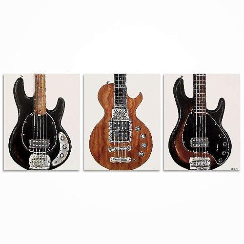 Guitar Painting Wall Art Music Bass Player Gift Original