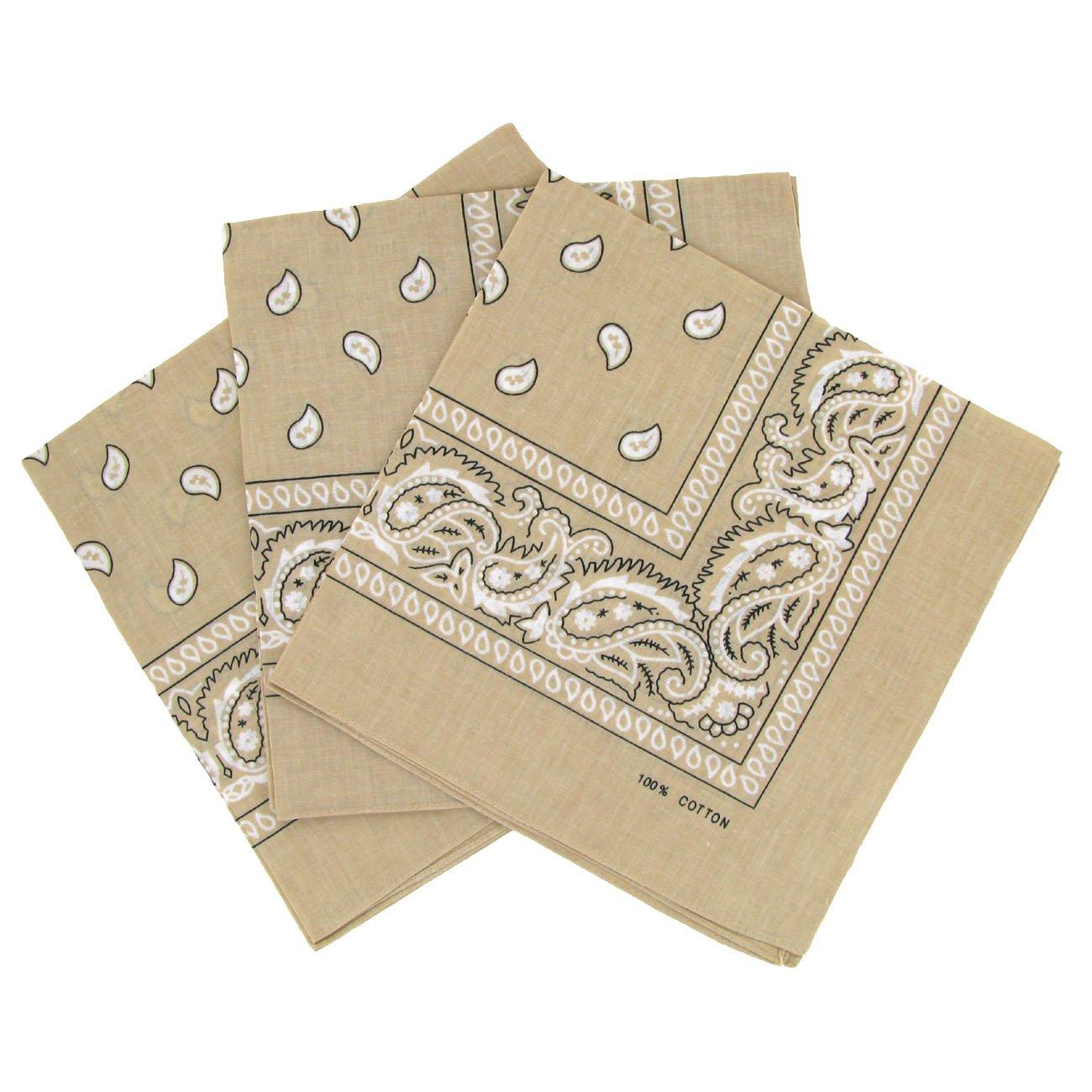 Bandanas paisley lot de 3 - Foulard coton motif cachemire, accessoire cheveux tendance