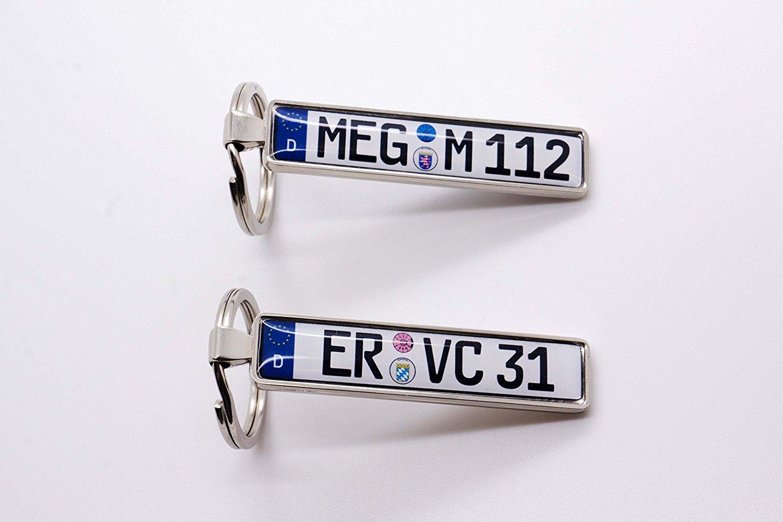 NUMMERNSCHILDCHEN Schlüsselanhänger mit Ihrem KFZ-Kennzeichen und ...