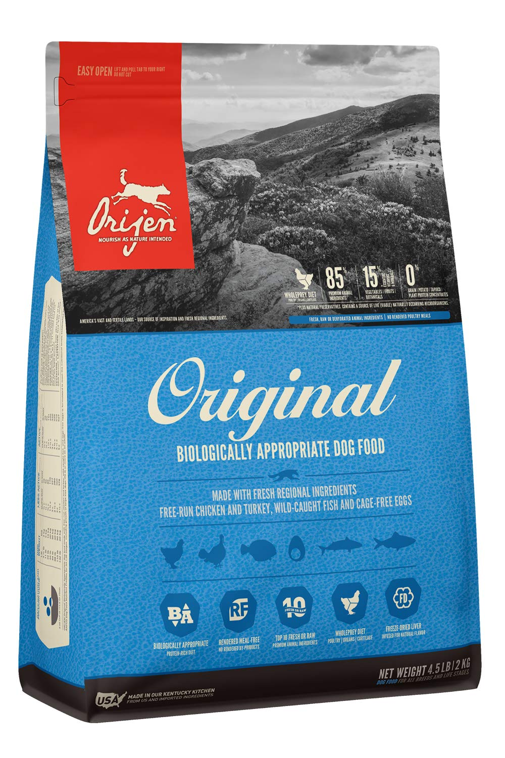1.Orijen High-Protein Grain-Free, Premium Quality Meat, Dry Dog Food