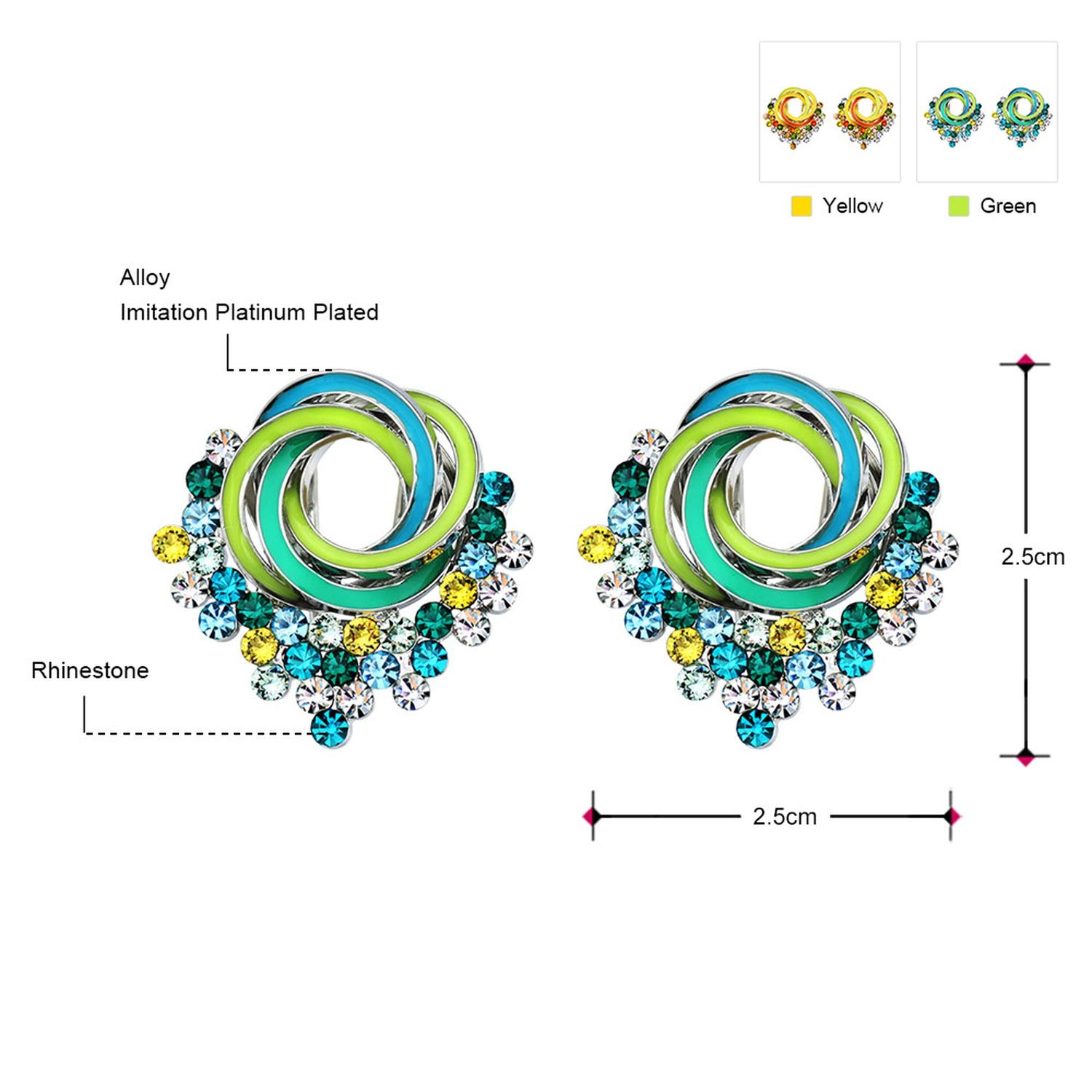 Multicolor Rhinestone Charm Cute Stud Earrings Girls Gifts Fashion Jewelry 2019 New Brand,Multicolour