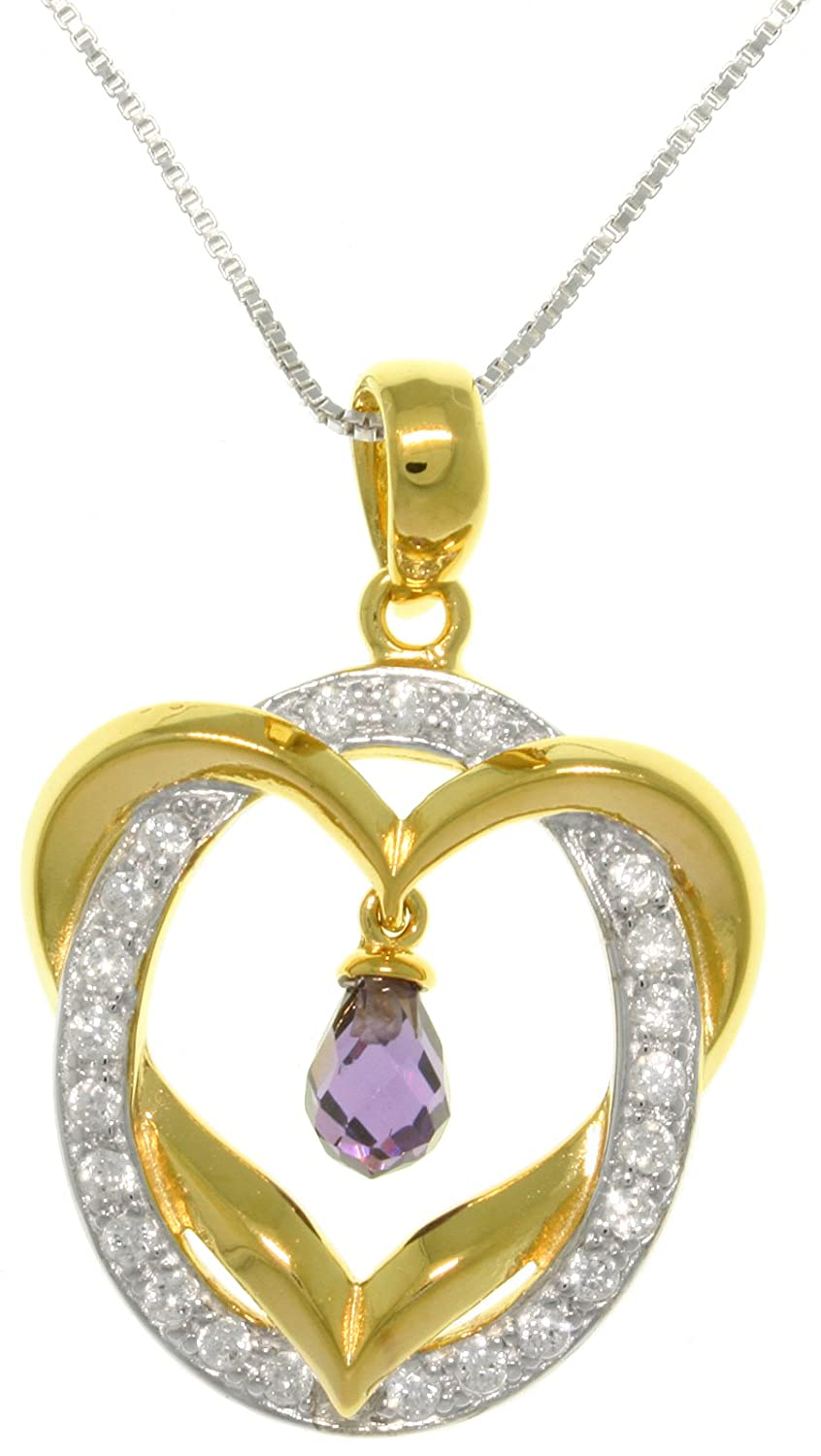 Jewelry Trends 14k Gold-Plated Silver Heart Pendant with Round Ring of CZ Crystals on Box Chain Necklace