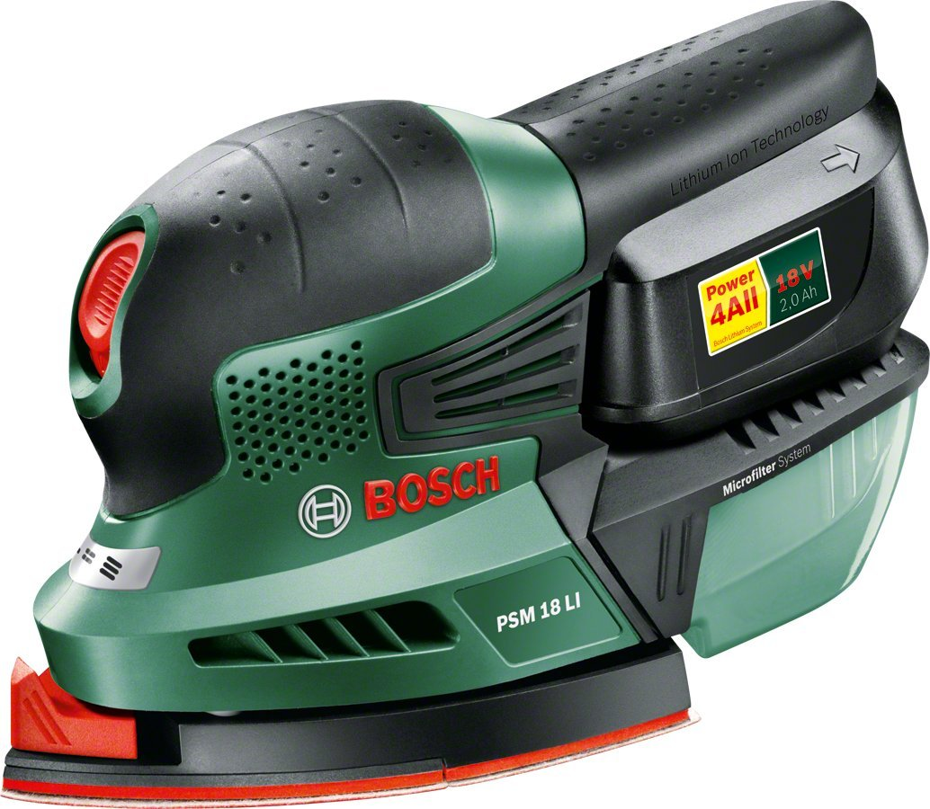 Bosch PSM 18 LI Cordless Multi-Sander with 18 V Lithium-Ion Battery 06033A1372