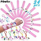 Pawliss 24 Pack Unicorn Slap Bracelets Wristband Backpack Clips, Emoji Birthday Party Favors Supplies for Kids Girls, Rubber Band Keychains Classroom Toys Prizes Gifts