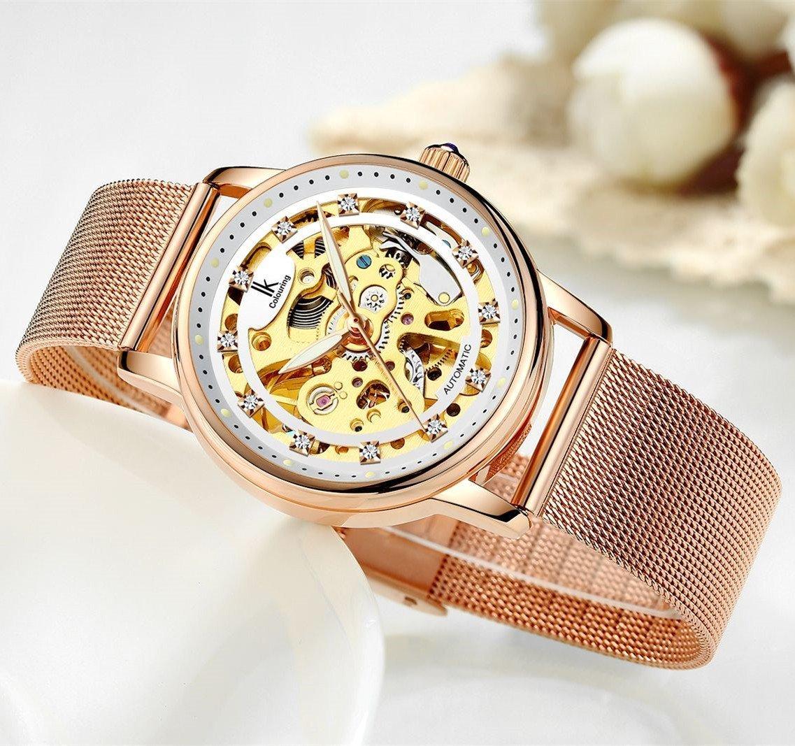Womens Watch,Stone Automatic Dress Watch Luxury Skeleton Wrist Watch for Lady,Rose Gold Tone by Stone (Image #5)