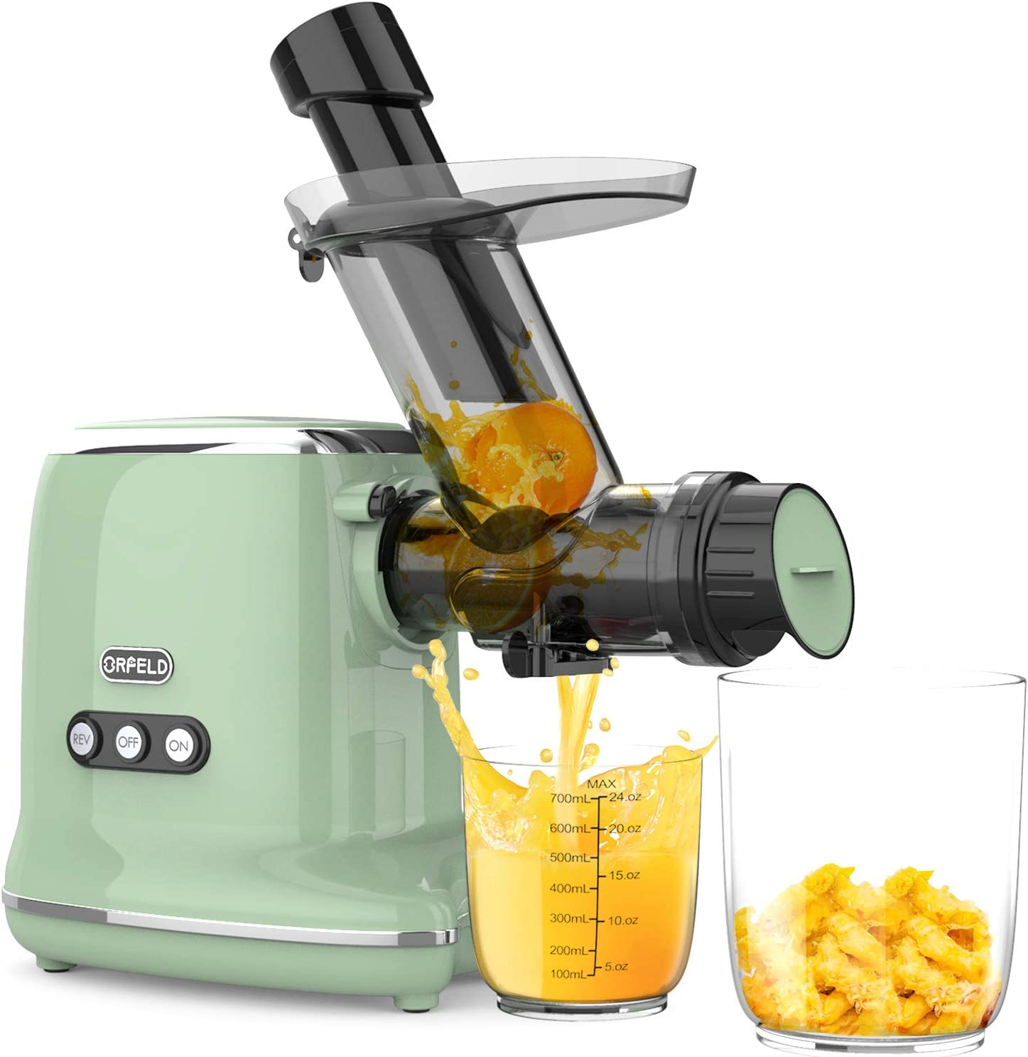 Juicer Machines, Orfeld Cold Press Juicer with Highest Juice Yield & Richest Nutrition, Quiet Motor & Reverse Function, Easy to Clean, BPA-Free Masticating Juicer Machines with Brush for Vegetables and Fruits