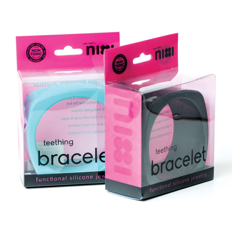 Navy SJQ Bumkins Nixi Quadro Silicone Teething Bracelet