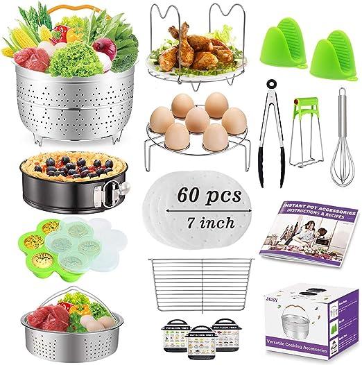 Accessories for Instant Pot, Accessories Compatible with 6,8 qt Instant Pot, Ninja Foodi 8 qt - 2 Steamer Baskets, Springform Pan, Egg Bites Mold, ...