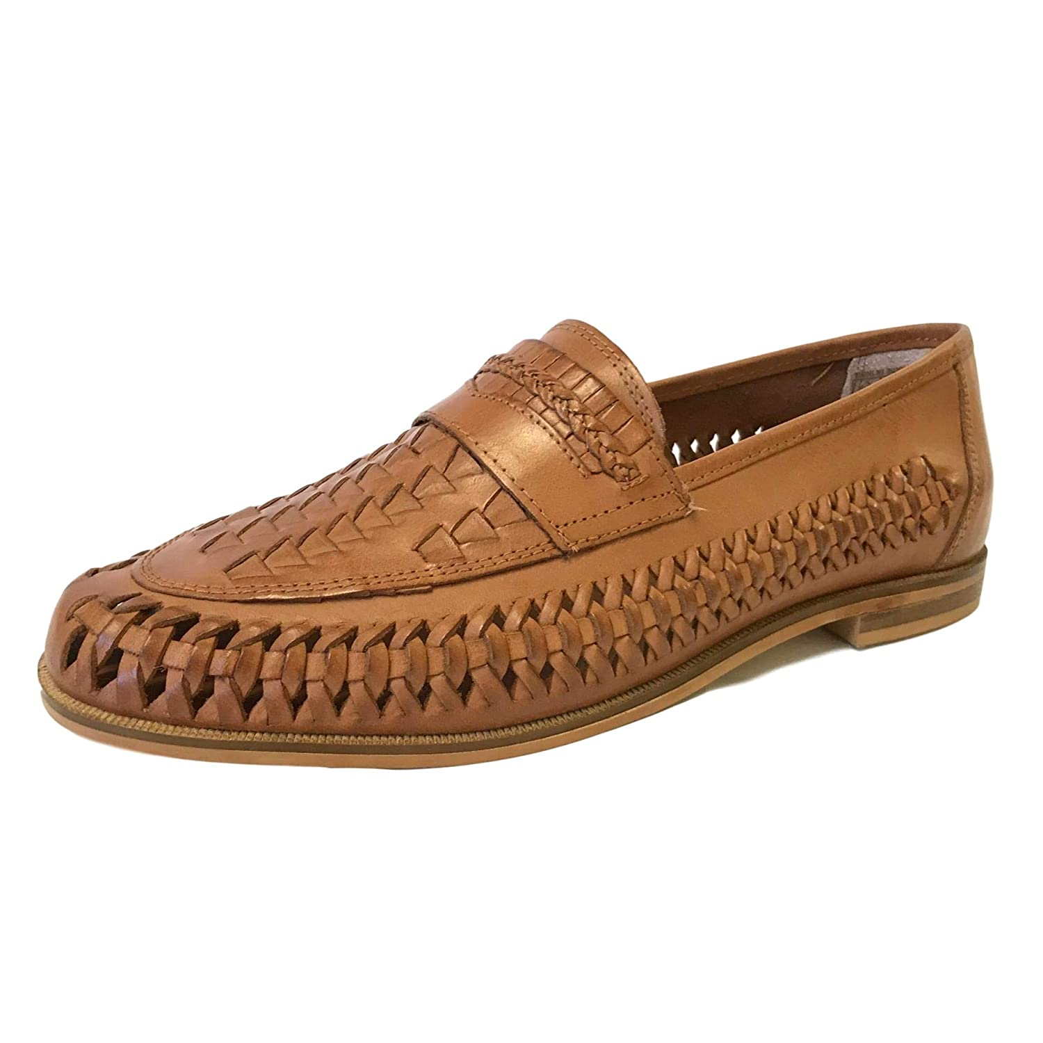 1bd1107c55 Mens Bow Weave Slip On Tan Real Leather Boat Shoes Summer Casual Office  Loafers Size 6-12 (UK 8   EU 42)  Amazon.co.uk  Shoes   Bags