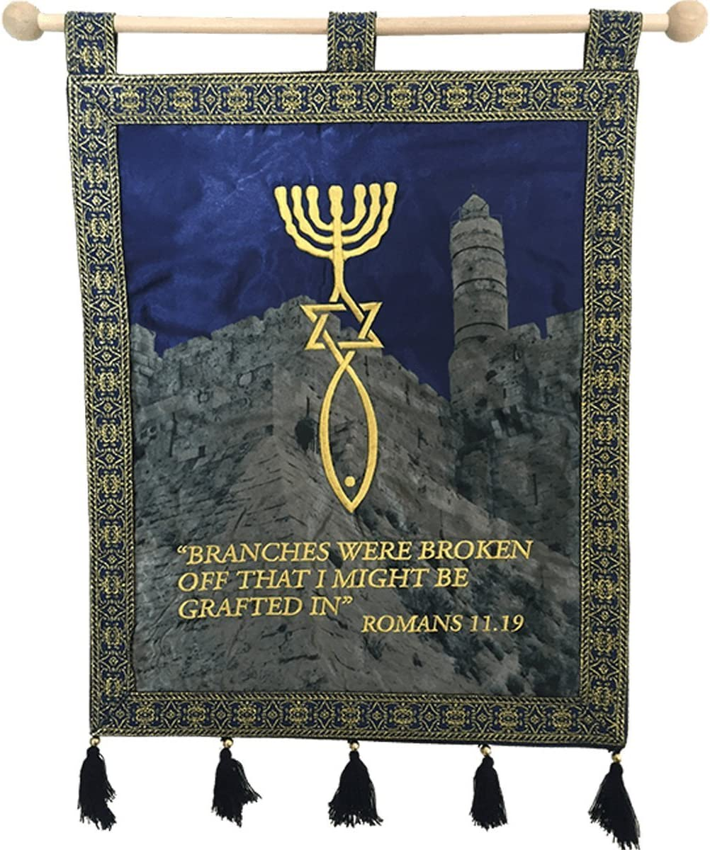 Nana gifts Grafted in Messianic Satin Wall Hanging Banner, Blue, 14x11