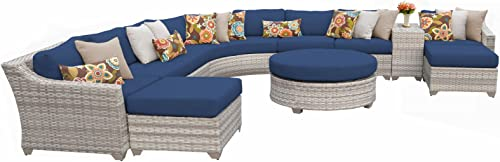 TK Classics FAIRMONT-11c-NAVY 11 Piece Outdoor Wicker Patio Furniture Set