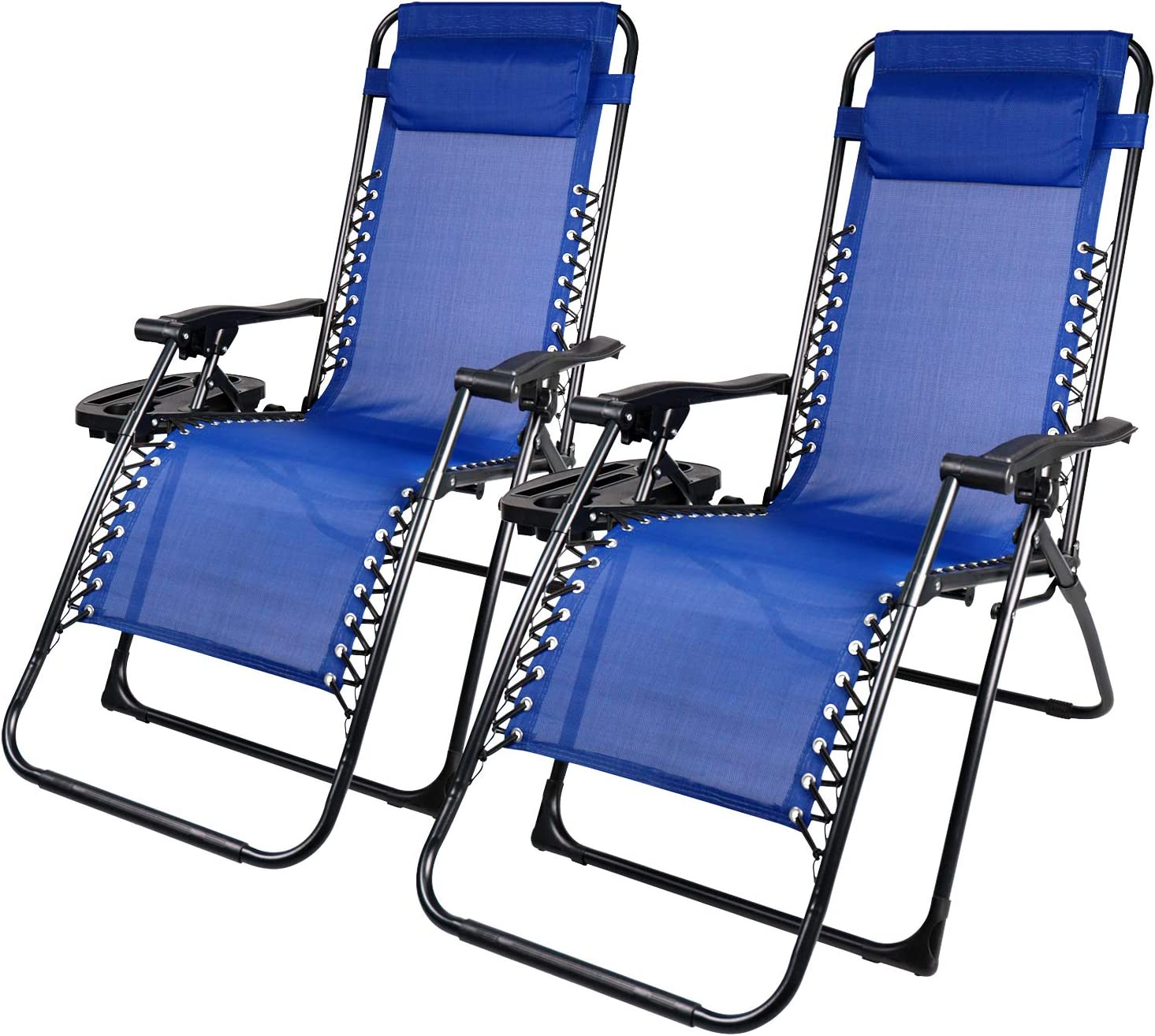 Zero Gravity Chair Lounge Chairs Outdoor Adjustable Camp Reclining Folding Chairs with Cup Holder Pillows for Deck Patio Beach Yard, Set of 2
