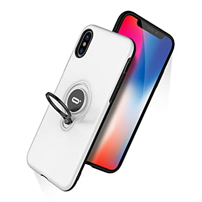 DESOF iPhone X Case, iPhone 10 Case with Ring Holder Kickstand, 360°Adjustable Ring Grip Stand Work with Magnetic Car Mount Anti-Fingerprint Slim Cover for Apple iPhone X (2020) 5.8 inch - White