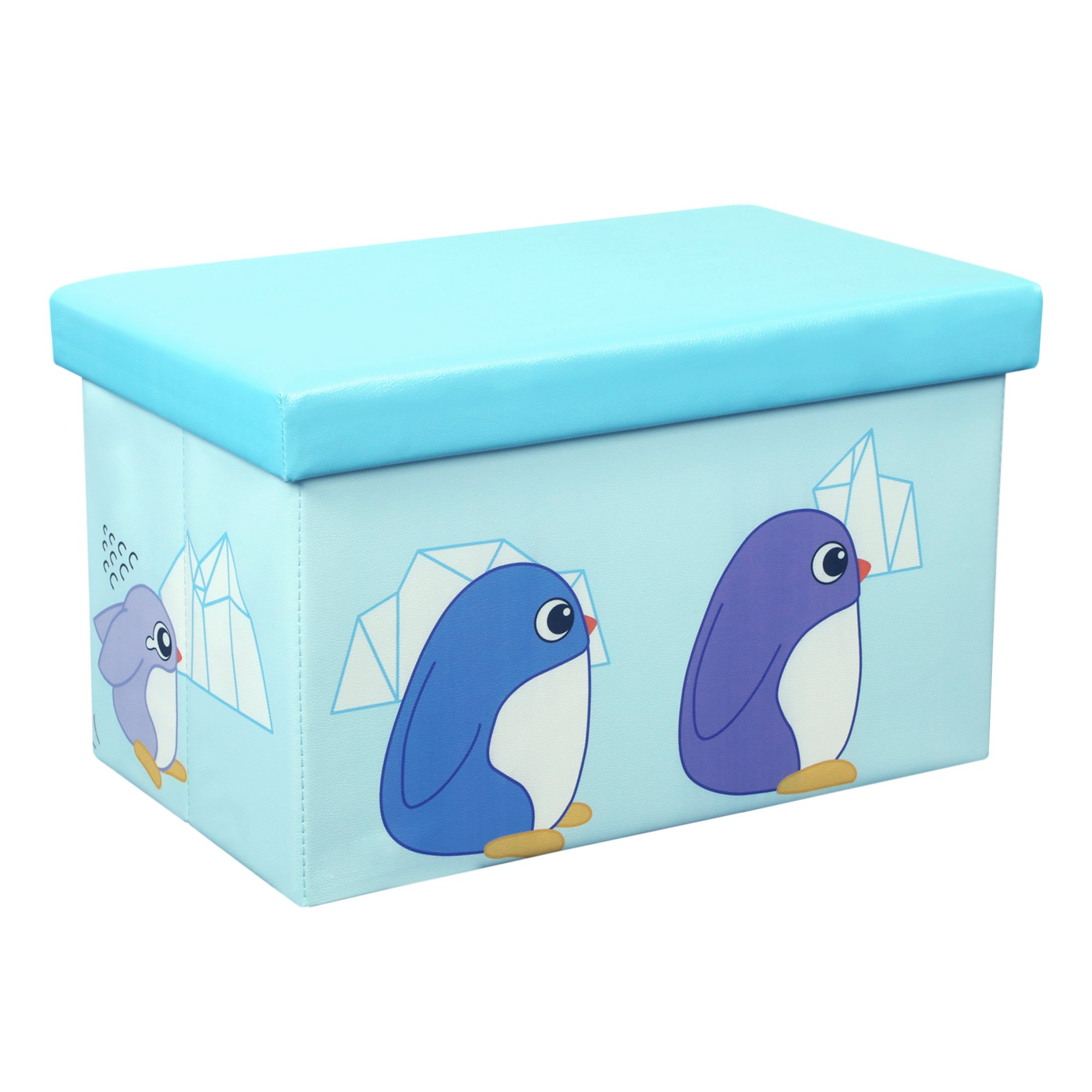 Otto & Ben 23'' Toy Box - Folding Storage Ottoman Chest with Foam Cushion Seat, Washable Faux Leather Foot Rest Stools for Kids, Penguin Family