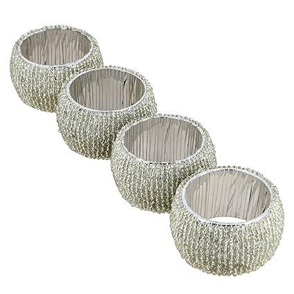 Dungri India Craft® Set de 4, redondo de toalla Plata Perlas détenteurs Napkin Ring