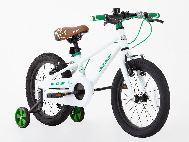 Greenway - Bicicleta con ruedas de apoyo, para niños, marco de acero de 40,6 cm, de 3 a 6 años: Amazon.es: Deportes y aire libre