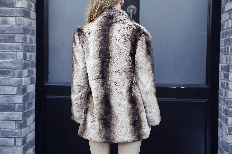 COLINNA Womens Faux Fur Coat Luxury Lapel Winter Warm Long Jacket Outerwear Oversize