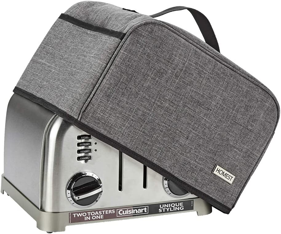 HOMEST Toaster Dust Cover with Pockets for Cuisinart CPT-180, CPT-340 4 Slice Toaster, Fingerprint Protection, Grey(Patent Design)