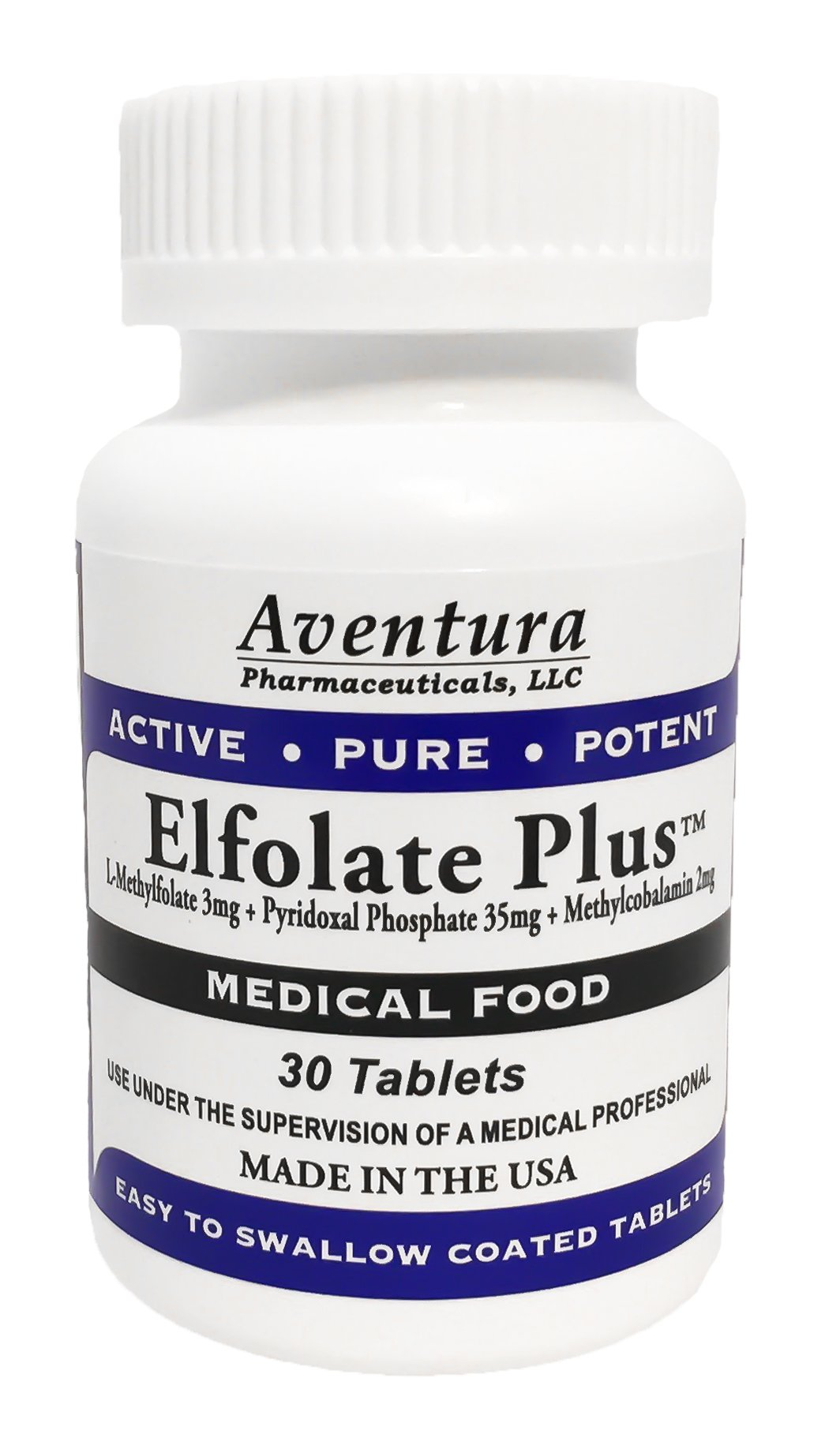 Elfolate Plus™ 3mg L-Methylfolate Medical Food Supplement Professional Strength Active Pure Potent Folate 30 Tablets