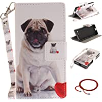 GOCDLJ Sony Xperia X Compact PU Leather Flip Cover Cell Phone Case Wallet Stand Function with Lanyard Strap Magnetic Holder Cash Pocket Pouch Shell Design Cute Dog