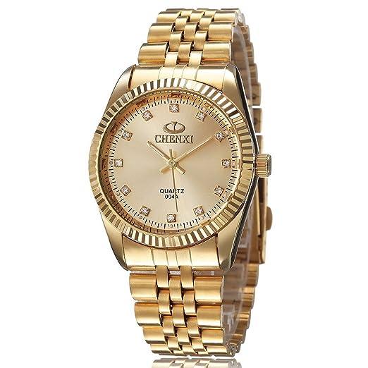 xlordx Chenxi Moda Hombre Oro Reloj de Muñeca Analógico de Cuarzo Acero Inoxidable Color Dorado: Amazon.es: Relojes