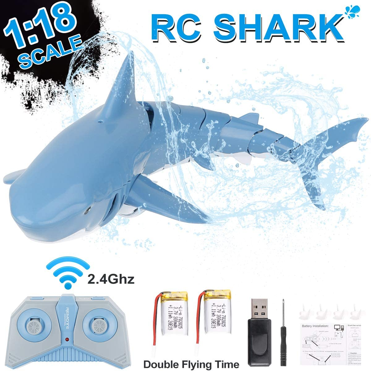 FPVERA RC Boat Remote Control RC Shark Boat 2.4GHz Racing Boat Simulation Shark Toy for Kids Gift Swimming Pool Bathroom Toy (Blue)