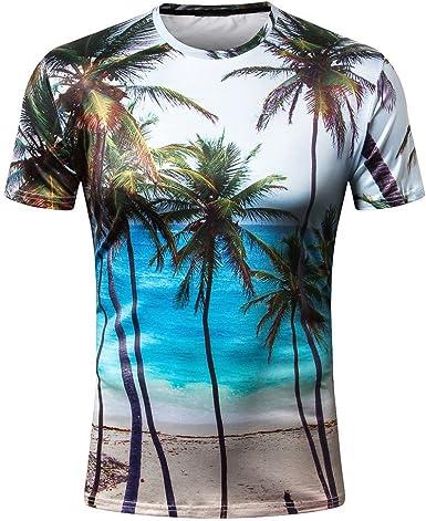 YEBIRAL Camisa Hawaiana para Hombre, Palmeras Impreso para La Casual Slim Verano Playa Fiesta con O-Cuello T-Shirt Tops Blusa: Amazon.es: Ropa y accesorios