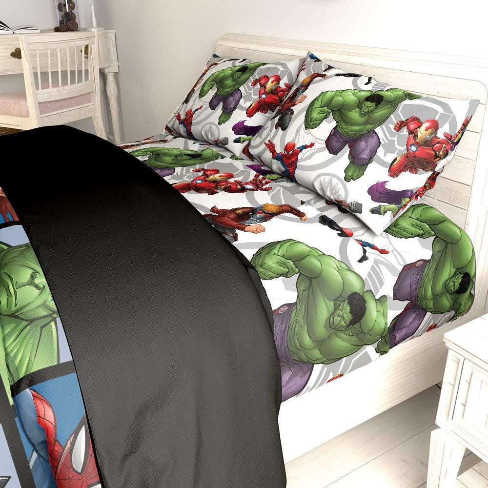 Jay Franco Marvel Avengers Team 5 Piece Full Bed Set - Includes Reversible Comforter & Sheet Set - Super Soft Fade Resistant Polyester - (Official Marvel Product)