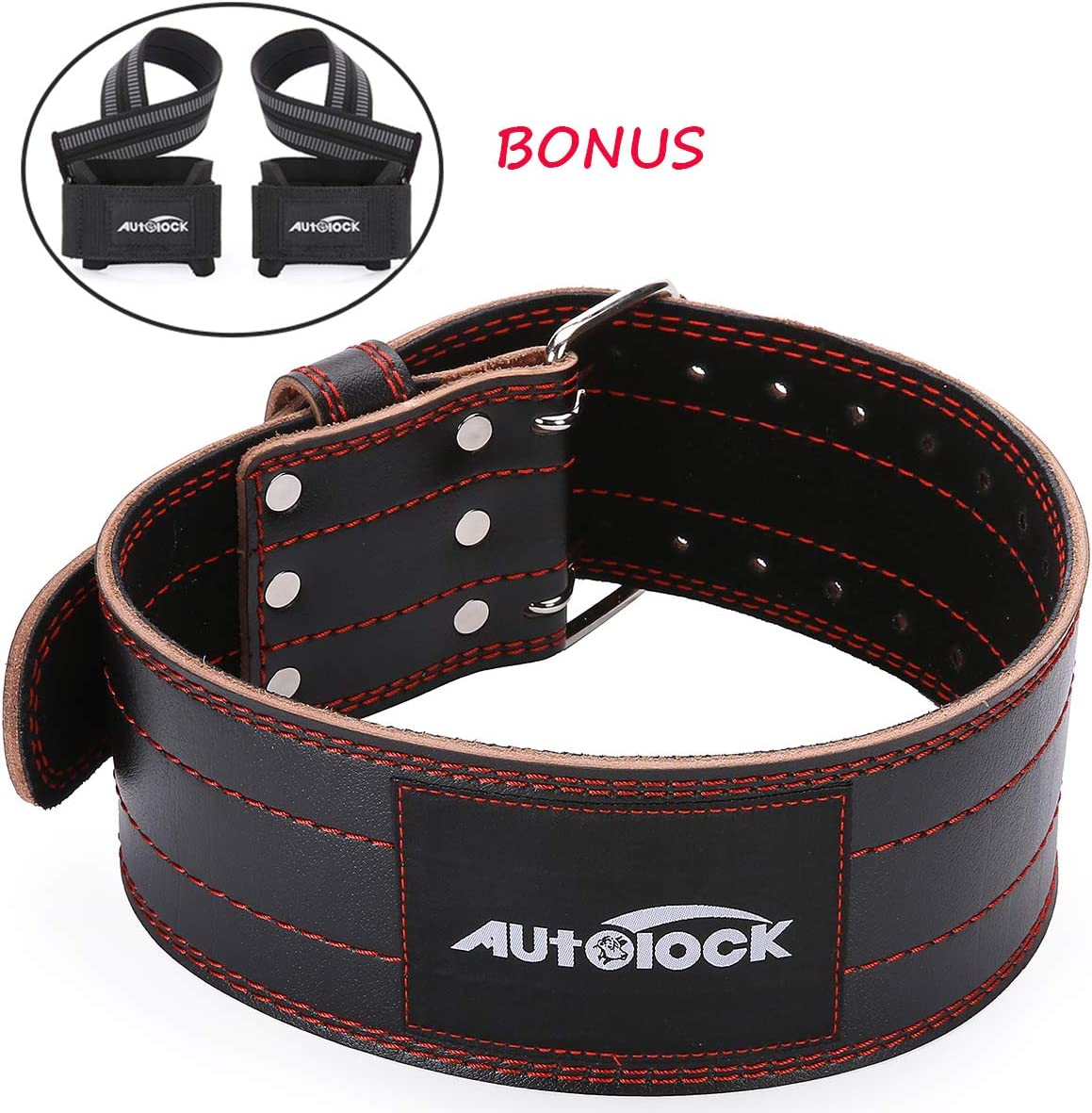 Autolock Weight Lifting Belt for Men and Women, Genuine Leather 4 Wide Workout Belt with Double Prong Buckle, Stabilizing Lower Back Support for Weightlifting, Squats and Deadlifts