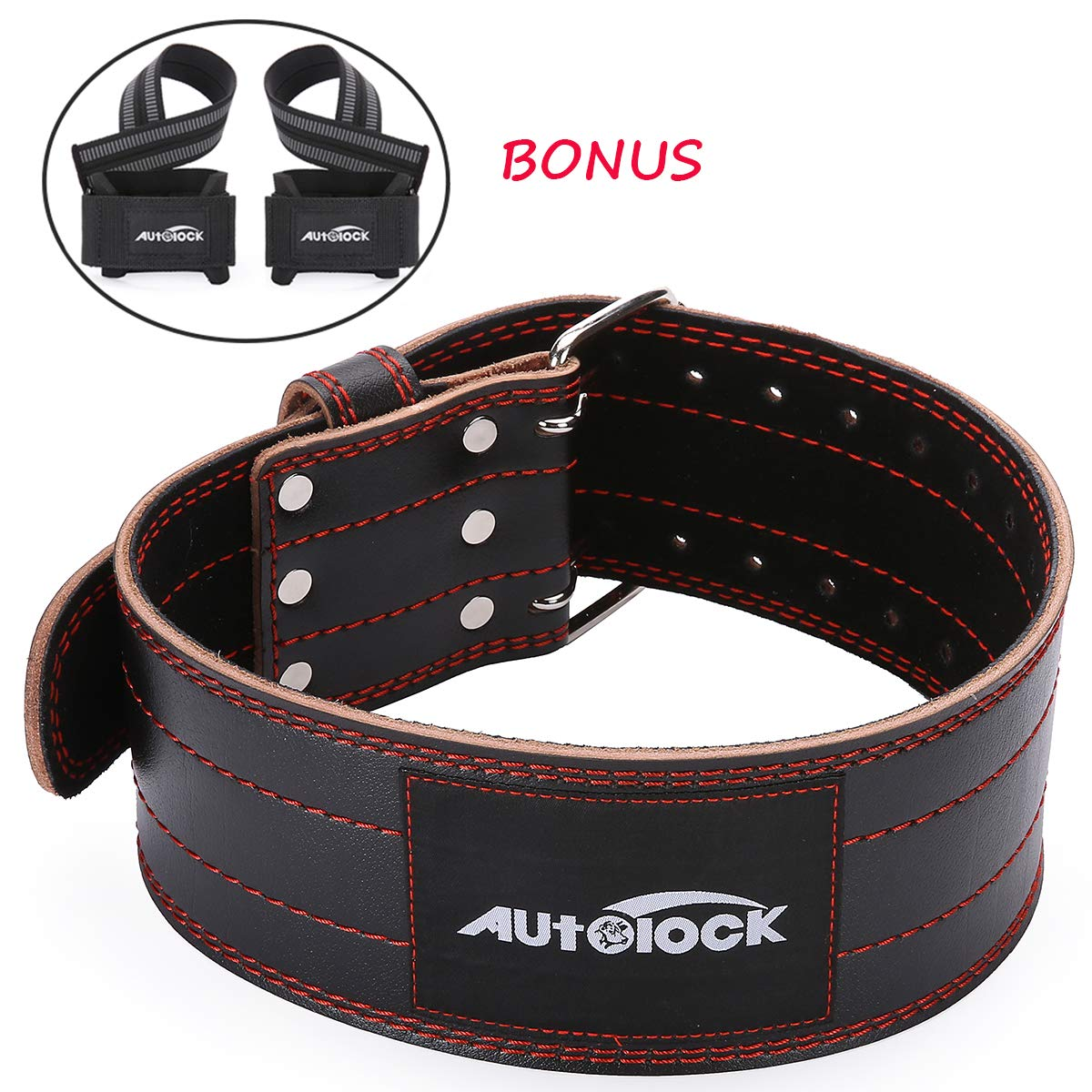 Autolock Weight Lifting Belt for Men and Women, Genuine Leather 4'' Wide Workout Belt with Double Prong Buckle, Stabilizing Lower Back Support for Weightlifting, Squats and Deadlifts