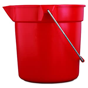 "Rubbermaid Commercial Products FG296300RED 10 qt Capacity, 10-1/2"" Diameter, 10-1/4"" Height, Red Color, Brute High-Density Polyethylene Round Bucket"