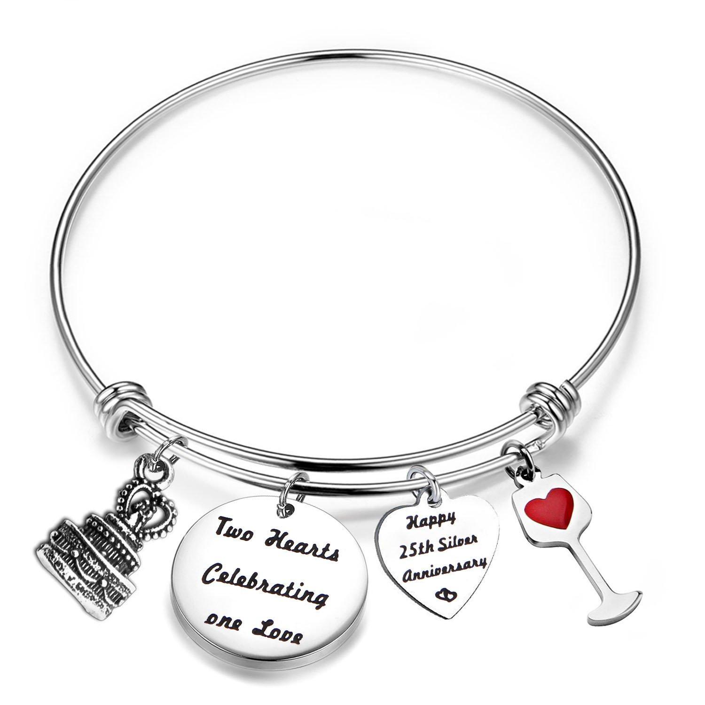 FEELMEM for Her Adjustable Wedding Anniversary Bracelet Bangle with Anniversary Cake Charm,1th 10th 25th 30th Bangle Gift (25th)