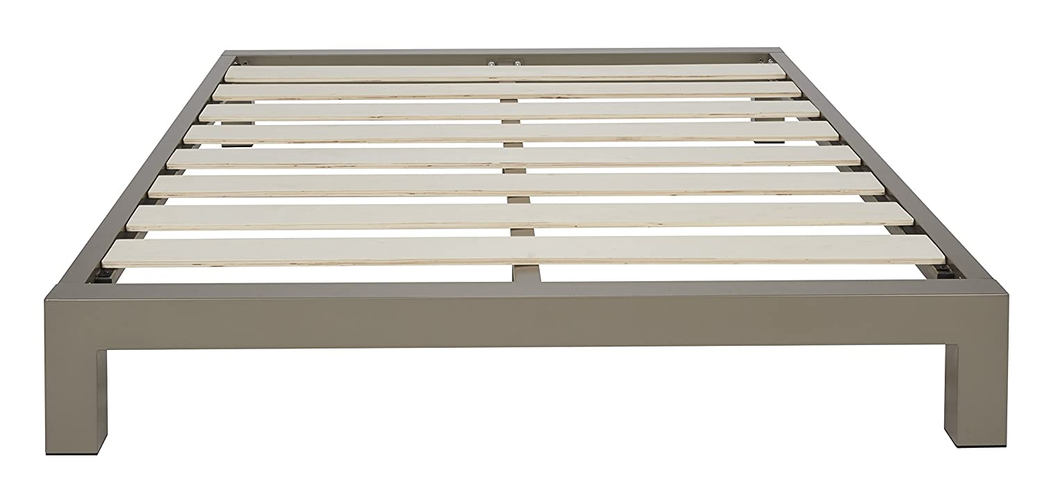 stella metal platform bed frame  modern finish  thick and wide  - stellametalplatformbedframemodernfinishthick