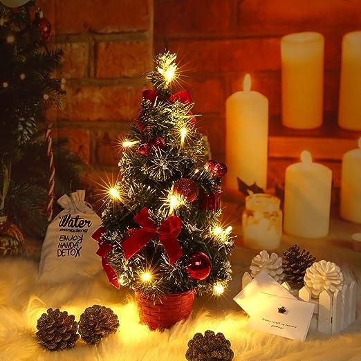 Lucoss 40cm Árbol de Navidad de Mesa,Mini Árbol de Navidad ...