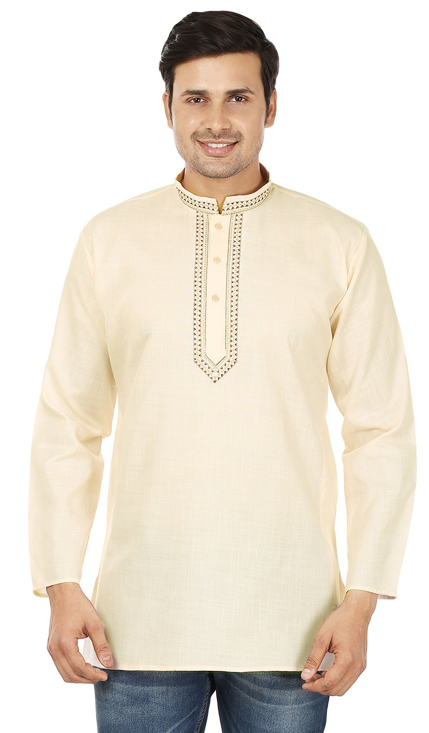 Cotton Embroidered Mens Kurta India Clothing, Creame, Large