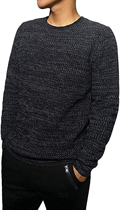 SportsX Mens Jacquard Solid Color Pullover Office Knitting Sweater