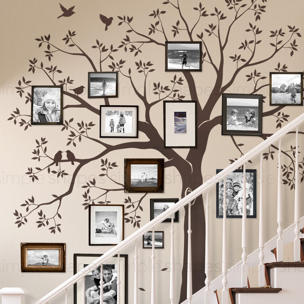 Simple Shapes Staircase Family Tree Wall Decal Tree Wall Decal - (Chestnut Brown, Standard Size: 109.5 w x 105 h Inch) by Simple Shapes