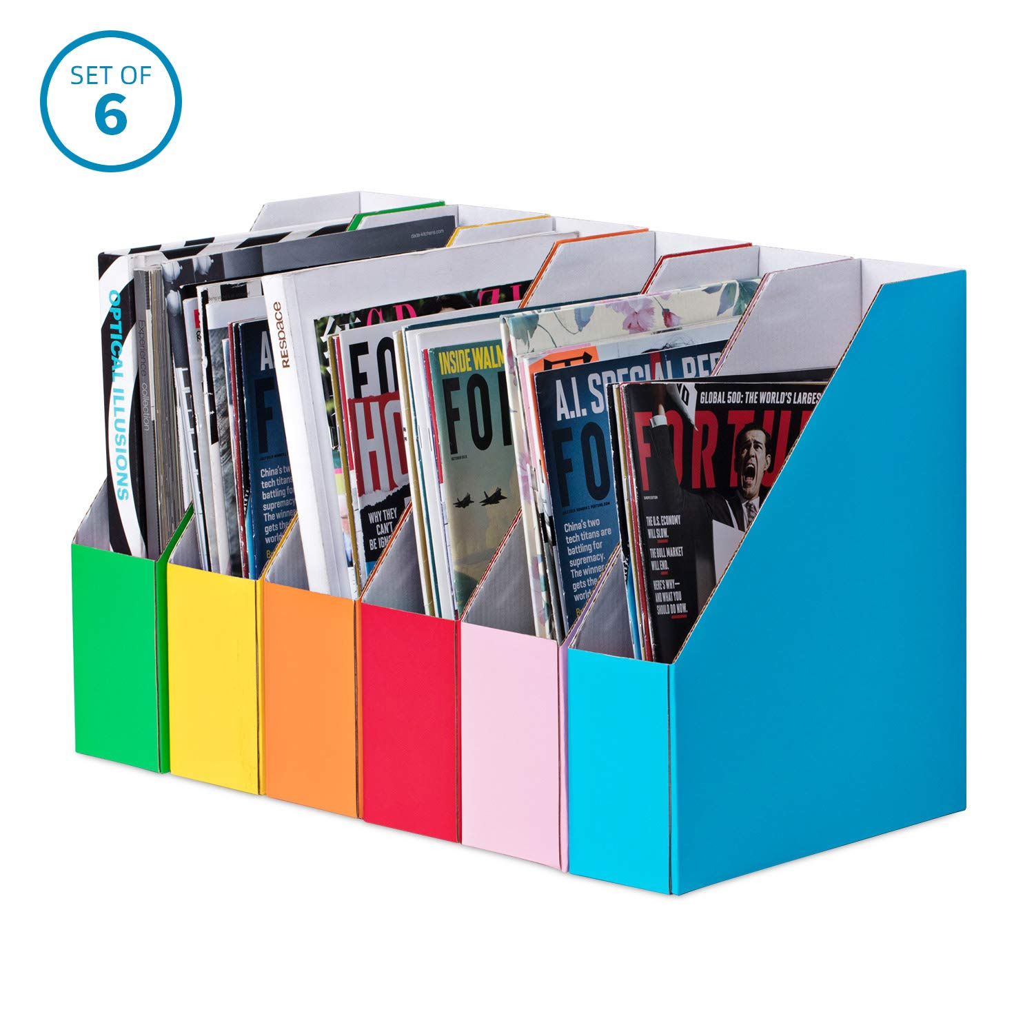 Magazine Holder File Organizer 6 Colors Included by Yezvil Essential (Image #1)