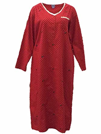 e1f0502485 Laura Scott Womens Red Polka Dot Flannel Nightgown Scottie Dog Sleep Shirt M