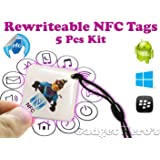 Gadget Hero's Rewritable Programmable NFC Tag Keychain 5 Pcs Kit.
