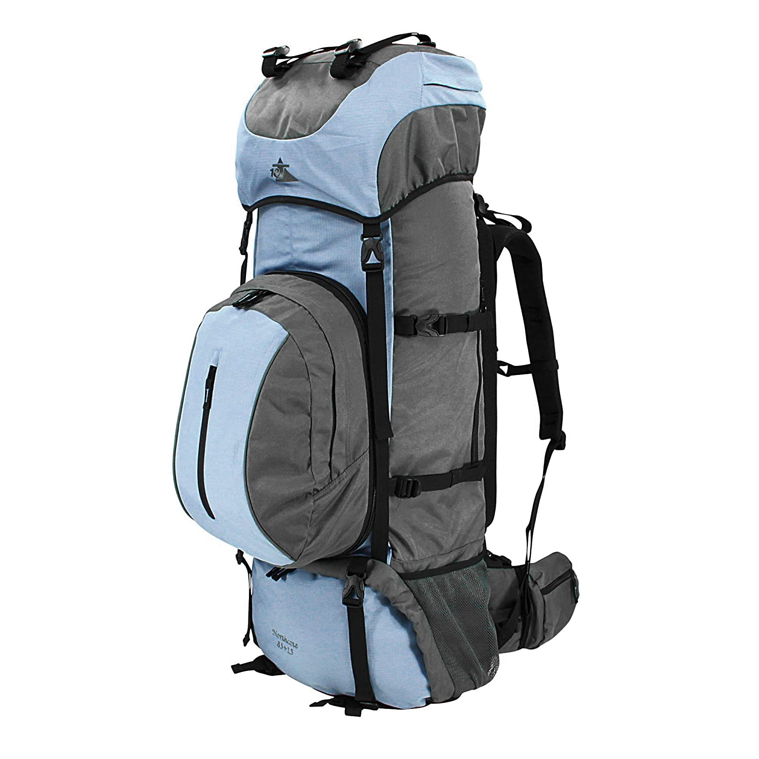 Blau // Grau 10T Outdoor Equipment Northcote 85+15 Saco marinero 95 cm Azul 100 liters