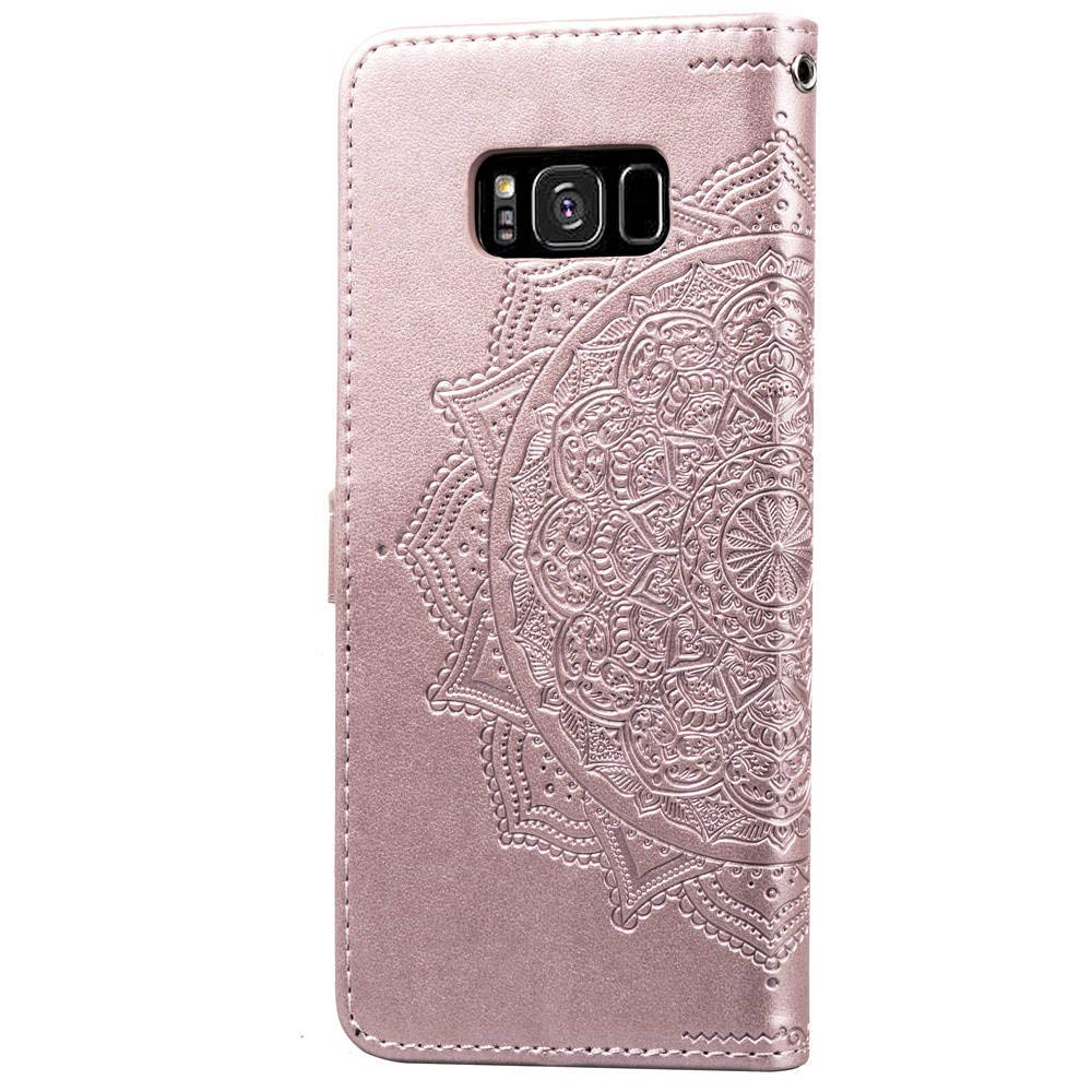BtDuck Galaxy S8 Phone Samsung S8 Cover Leather Wallet Case Clear Phone Flip Book Cover Shockproof Magnetic Closure Flip Stand Function Card Holder Phone Protective Totem Case Rose Gold