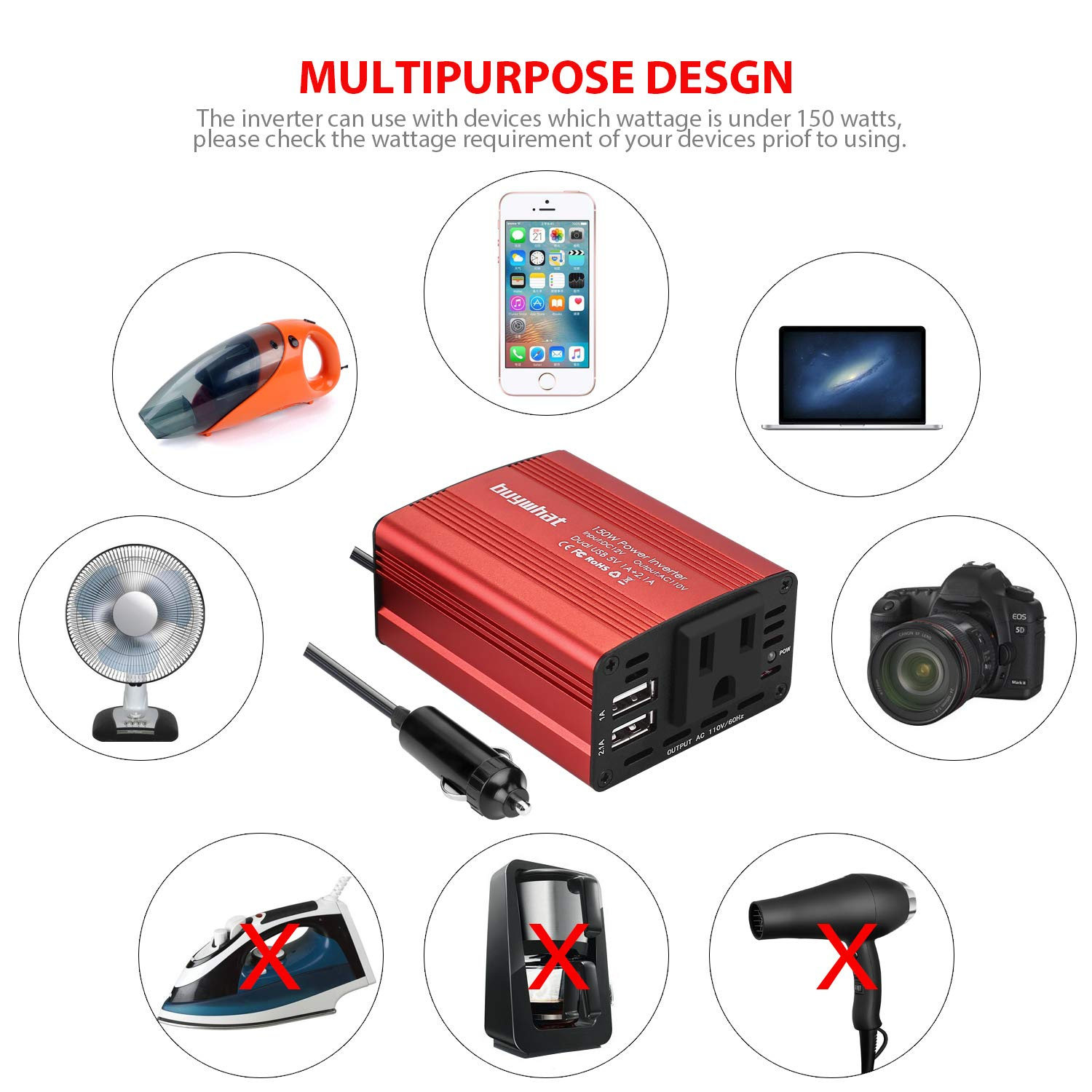 Buy What BW-150 150W Car Power Inverter DC 12V to 110V AC Outlet Converter 3.1A Dual USB Car Charger Adapter(Red) by Buywhat (Image #3)