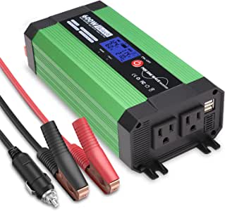 Beleeb 600W Pure Sine Wave Inverter, DC 12V to AC 110V Power Inverter with LCD Display, Dual USB Ports and 2 AC Outlets