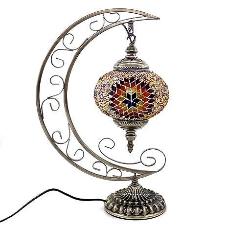 Kindgoo Lámpara Turca Mesilla de Noche Vintage Mosaico de Vidrio Multicolor, Led Bombilla Incluida (Marrón)